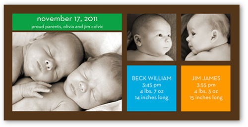 Modern Twin Boys Birth Announcement, Square Corners