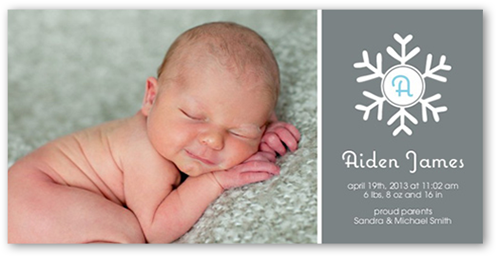 Snowflake Baby 4x8 Holiday Boy Birth Announcements – Boy Birth Announcement