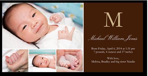 Initial Impressions Boy Birth Announcement