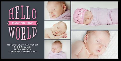 Hello Newborn Girl Birth Announcement