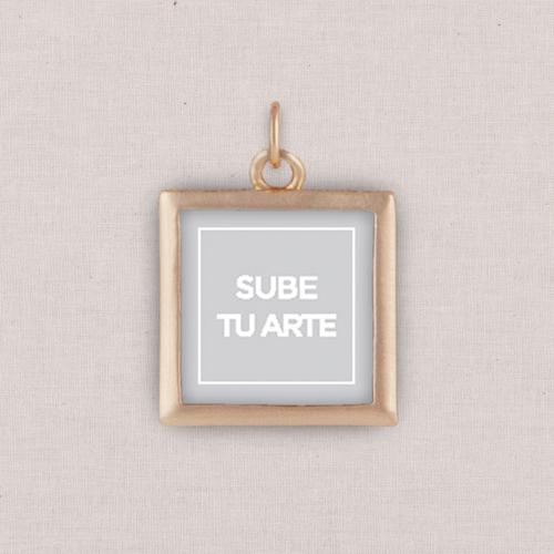 Rose Gold Sube Tu Arte Photo Charm, Square, White