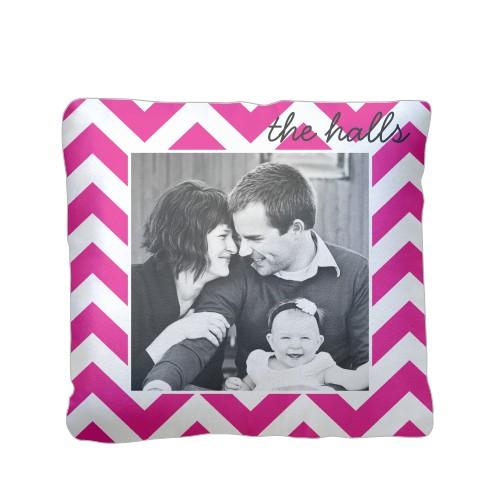 Chevron Stripes Pillow, Sherpa, Pillow (Sherpa), 16 x 16, Single-sided, Pink