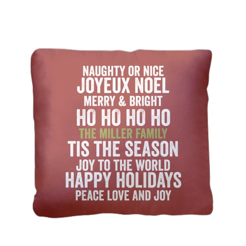 In Your Words Holiday Pillow, Plush, Pillow (Plush), 16 x 16, Single-sided, Red