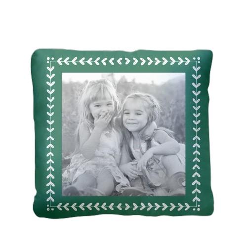 Mistletoe Frame Pillow, Sherpa, Pillow (Sherpa), 16 x 16, Single-sided, Green