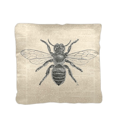 Vintage Bee Pillow, Cotton Weave, Pillow (Black), 16 x 16, Single-sided, White