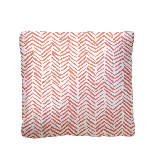 Red Herringbone Pillow, Plush, Pillow (Plush), 16 x 16, Single-sided, White