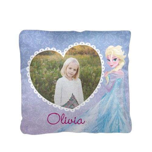 Disney Frozen Elsa Pillow, Cotton Weave, Pillow (Ivory), 16 x 16, Single-sided, Purple