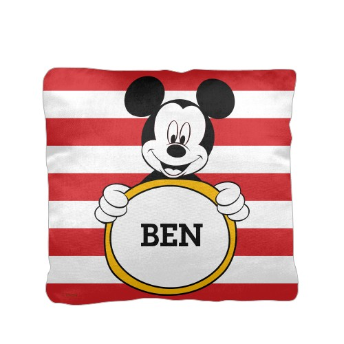 Disney Mickey Mouse Pillow, Cotton Weave, Pillow, 16 x 16, Double-sided, Red