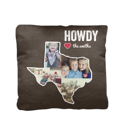 Texas Family Love Pillow, Cotton Weave, Pillow, 16 x 16, Double-sided, Brown
