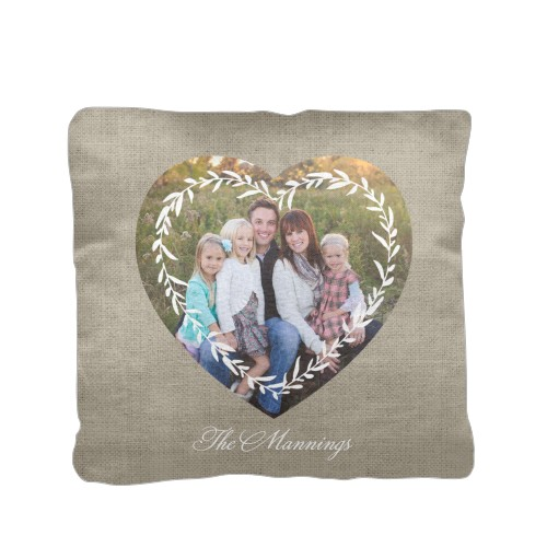 Foliage Frame Pillow, Cotton Weave, Pillow (Ivory), 16 x 16, Single-sided, Beige