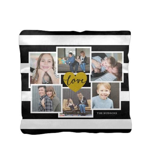 Love Stripes Pillow, Cotton Weave, Pillow, 16 x 16, Double-sided, Black