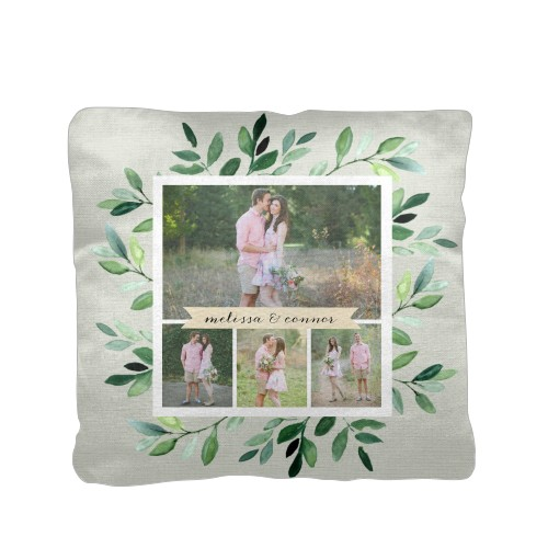 Foliage Collage Pillow, Cotton Weave, Pillow (Ivory), 16 x 16, Single-sided, Green