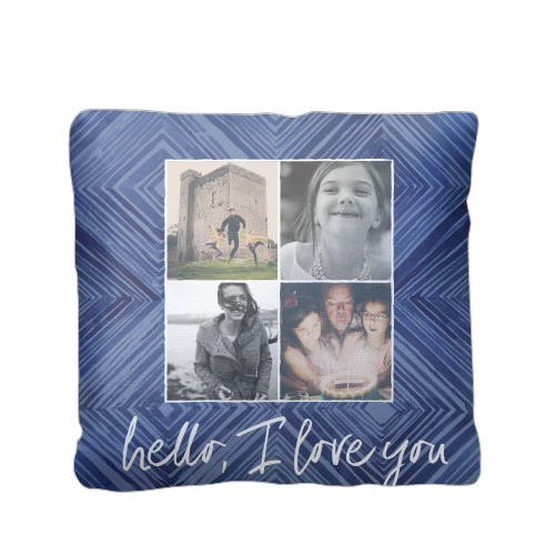 Diamond Collage Pillow, Plush, Pillow (Plush), 16 x 16, Single-sided, Blue