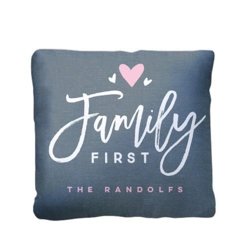 Family Heart Pillow, Plush, Pillow (Plush), 16 x 16, Single-sided, Blue
