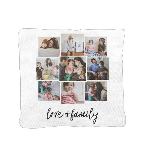 Love and Family Pillow, Cotton Weave, Pillow (Ivory), 16 x 16, Single-sided, White