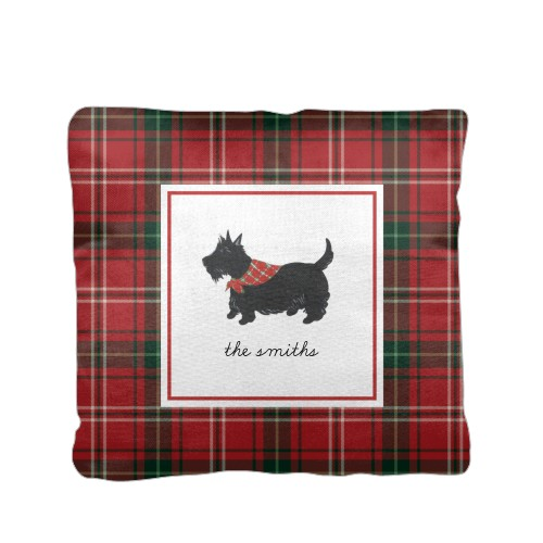 Holiday Plaid Border Pillow, Cotton Weave, Pillow (Ivory), 16 x 16, Single-sided, Red