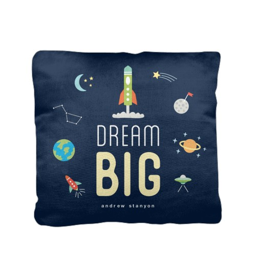 Moon And Stars Dream Big Monogram Pillow, Cotton Weave, Pillow (Ivory), 16 x 16, Single-sided, Blue