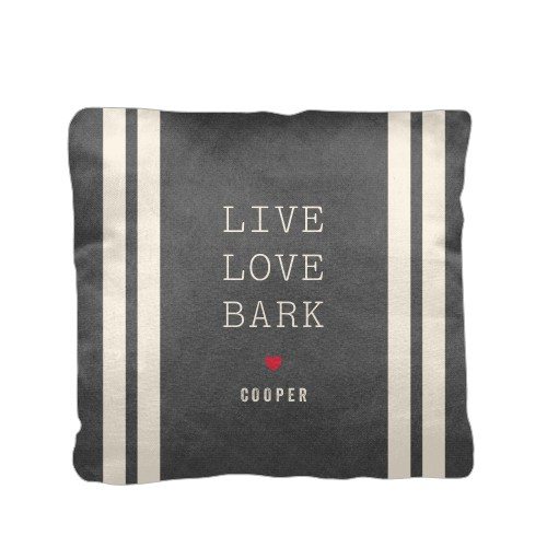 Simply Chic Live Love Bark Pillow, Cotton Weave, Pillow, 16 x 16, Double-sided, Red