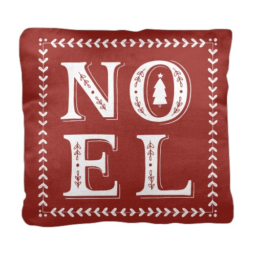 Noel Pillow, Cotton Weave, Pillow (Ivory), 18 x 18, Single-sided, Red