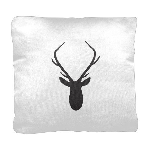 Deer Silhouette Pillow, Cotton Weave, Pillow (Ivory), 18 x 18, Single-sided, White