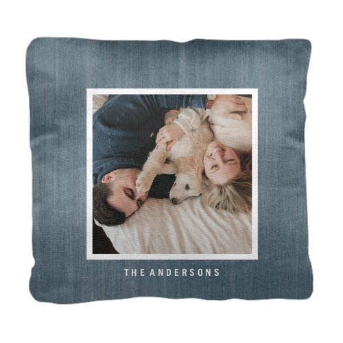 Denim Frame Pillow, Cotton Weave, Pillow (Ivory), 18 x 18, Single-sided, Blue
