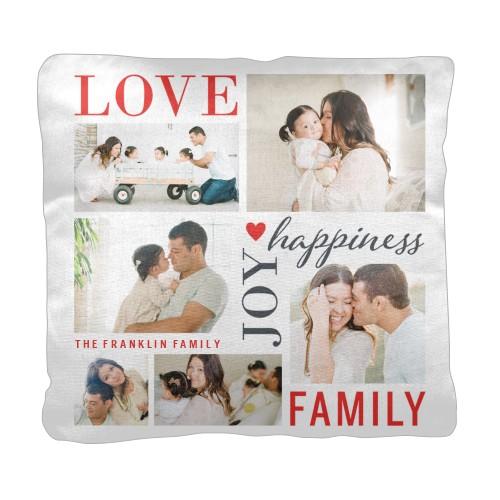 Love Joy Family Pillow, Cotton Weave, Pillow (Ivory), 18 x 18, Single-sided, White