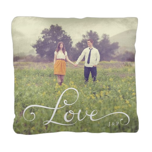 Hand-Lettered Love Pillow, Cotton Weave, Pillow, 18 x 18, Double-sided, White