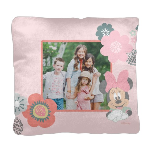 Disney Minnie Spring Floral Frame Pillow, Cotton Weave, Pillow (Black), 18 x 18, Single-sided, Pink