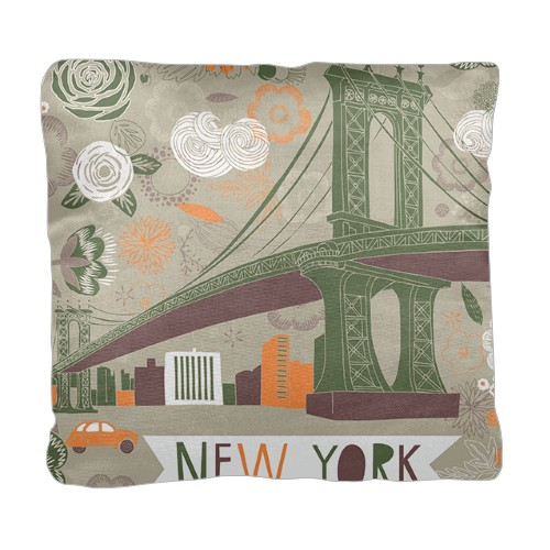 New York Illustration Pillow, Cotton Weave, Pillow (Ivory), 18 x 18, Single-sided, White