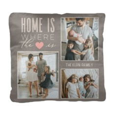 home and heart collage pillow