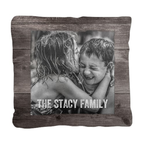 Weathered Wood Frame Pillow, Cotton Weave, Pillow (Black), 18 x 18, Single-sided, Brown