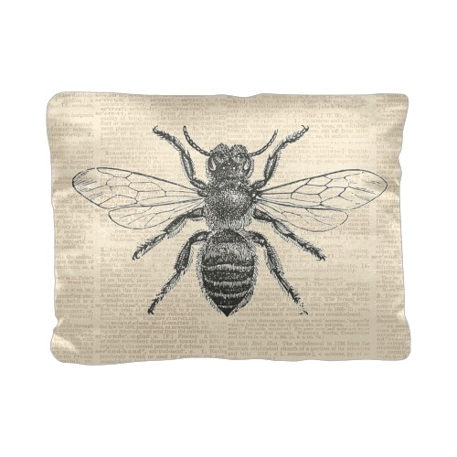Vintage Bee Pillow, Cotton Weave, Pillow (Ivory), 12 x 16, Single-sided, White