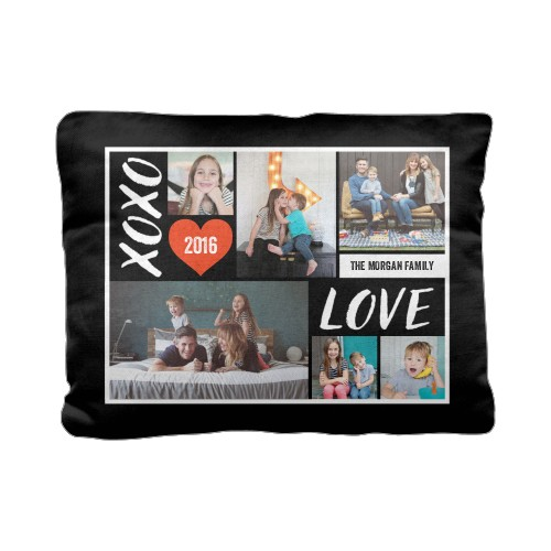 XOXO Love Grid Pillow, Cotton Weave, Pillow (Ivory), 12 x 16, Single-sided, DynamicColor