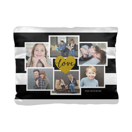 Love Stripes Pillow, Cotton Weave, Pillow (Black), 12 x 16, Single-sided, Black