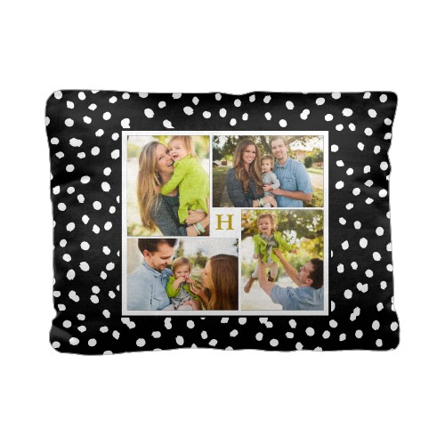 Organic Dot Collage Pillow, Cotton Weave, Pillow (Ivory), 12 x 16, Single-sided, Black