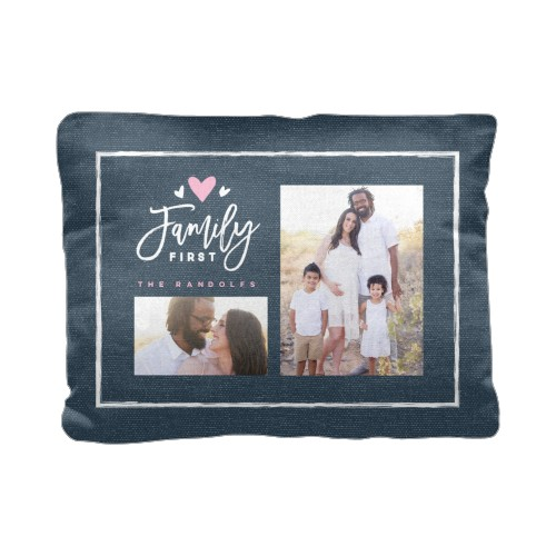 Family First Pillow, Cotton Weave, Pillow (Black), 12 x 16, Single-sided, Blue