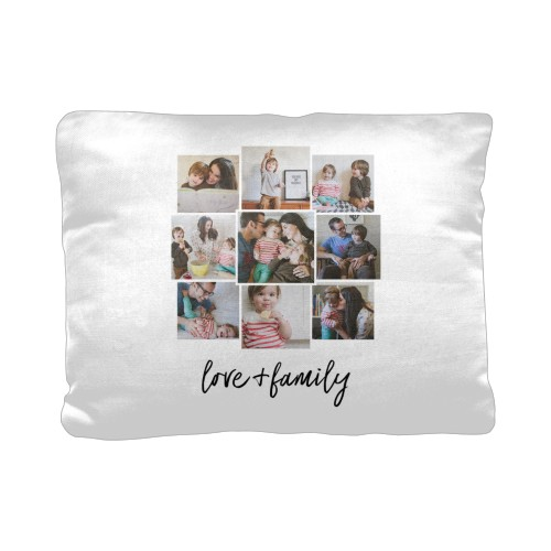 Love and Family Pillow, Cotton Weave, Pillow (Ivory), 12 x 16, Single-sided, White
