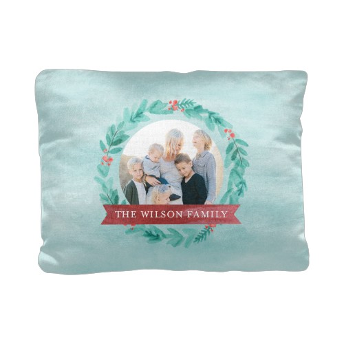 Foliage Banner Frame Pillow, Cotton Weave, Pillow (Ivory), 12 x 16, Single-sided, Blue