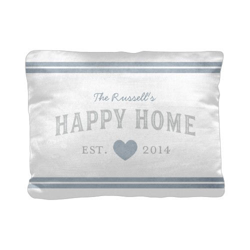 Happy Home Pillow, Cotton Weave, Pillow (Ivory), 12 x 16, Single-sided, Grey