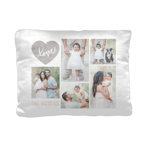 Love Wood Collage Pillow, Cotton Weave, Pillow (Ivory), 12 x 16, Single-sided, Beige