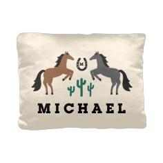 desert adventure wild horses pillow