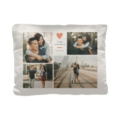 contemporary heart collage pillow