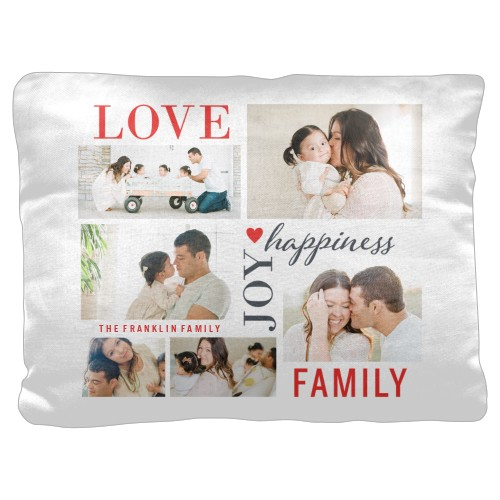 Love Joy Family Pillow, Cotton Weave, Pillow (Black), 18 x 24, Single-sided, White
