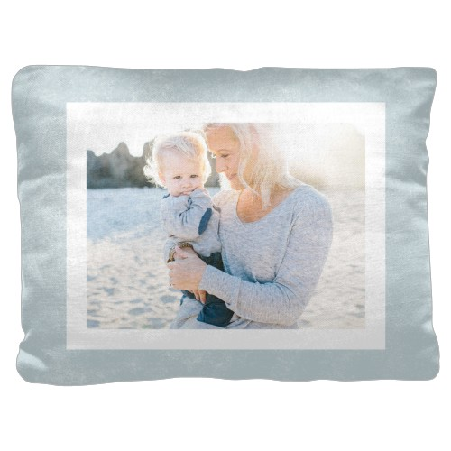 Bold Frame Pillow, Cotton Weave, Pillow (Ivory), 18 x 24, Single-sided, Blue