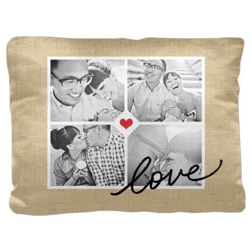 Love Grid Pillow, Cotton Weave, Pillow (Black), 18 x 24, Single-sided, Beige