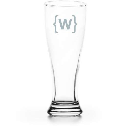 Bracket Monogram Pilsner Glass, Glass, Pilsner Glass Single Side, Clear Glass, White
