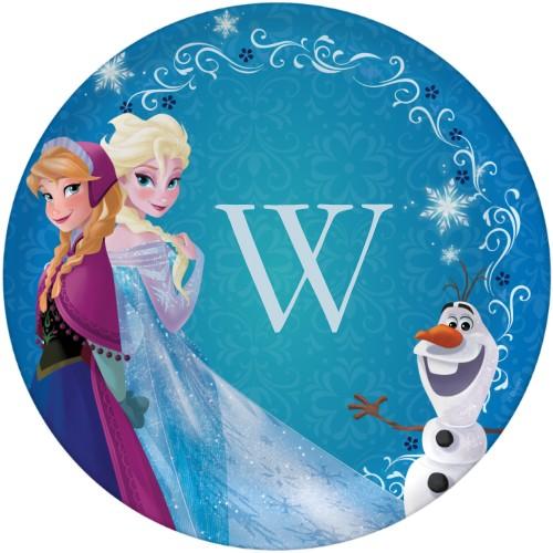 Disney Frozen Anna And Elsa Plate, 10x10 Plate, Blue