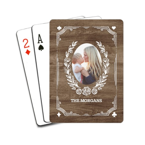 Rustic Floral Framing Playing Cards, Brown