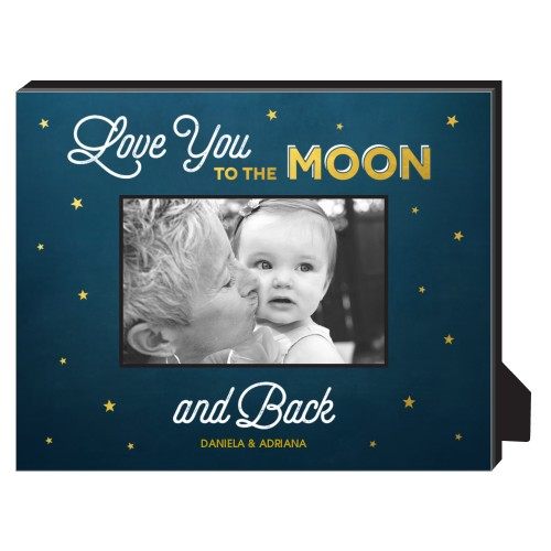 Love You To The Moon Personalized Frame, - No photo insert, 8 x 10 Personalized Frame, Blue