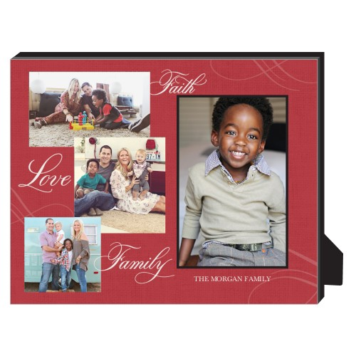 Faith Love Family Personalized Frame, - Photo insert, 8 x 10 Personalized Frame, Red